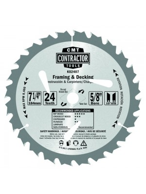 CMT K02407 ITK Contractor Framing/Decking Saw Blade, 7-1/4 x 24 Teeth, 10° ATB with 5/8-Inch