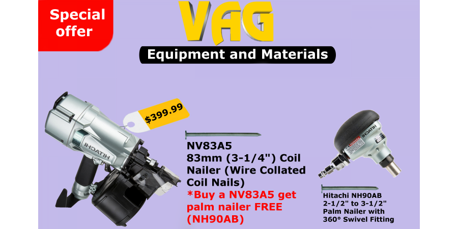 "NV83A5 83mm (3-1/4"") Coil Nailer (Wire Collated Coil Nails)"