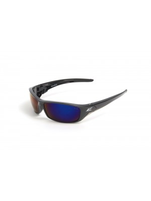 Edge Eyewear TSRAP218 Reclus Safety Glasses, Black with Polarized Aqua Precision Blue Mirror Lens
