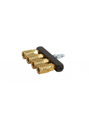 "HITACHI 115315, ALUMINUM AND BRASS STRAIGHT MANIFOLD WITH 4 COUPLERS AND PLUG 1/4"" NPT FEMALE"