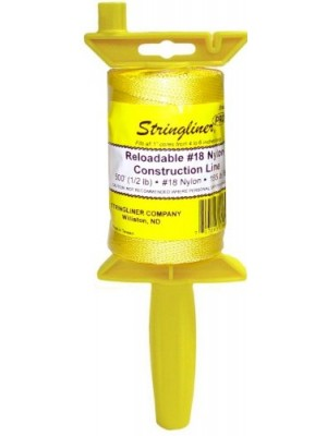 STRINGLINER PRO REEL WITH 500' BRAIDED YELLOW #18 CONSTRUCTION LINE, RELOADABLE