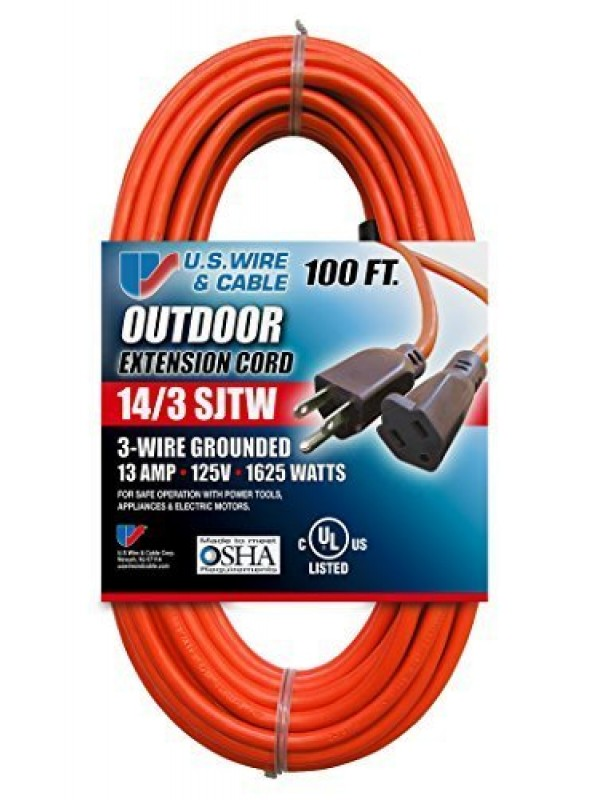 US Wire 63100 14/3 100-Foot SJTW Orange Medium Duty Extension Cord by U.S. Wire & Cable
