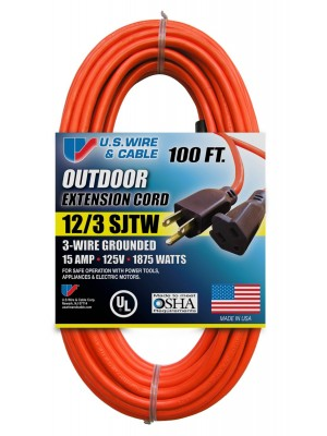 US Wire 65100 12/3 100-Foot SJTW Orange Heavy Duty Extension Cord