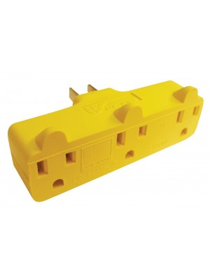 US Wire 70000 Yellow Triple Outlet Electrical Plug Adapter