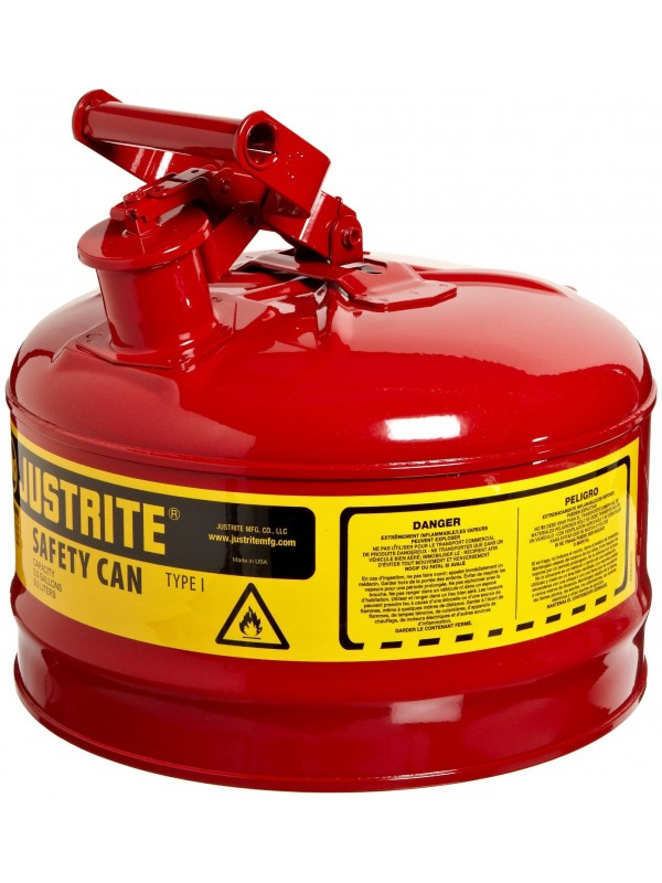 "2 GALLON, 11.75"" OD X 11.50"" H GALVANIZED STEEL TYPE (RED SAFETY CAN)"