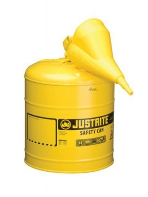 Justrite 7150210 Type I Galvanized Steel Diesel Fuel Safety Can with Funnels Value Packages, 5 Gallon Capacity, Yellow by Justrite