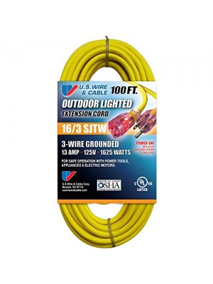 "THREE CONDUCTOR GROUNDED TEMP-FLEX-35TM YELLOW CORD WITH ""POWER-ON"" ILLUMINATED PLUG - 300V 16/3 X 100FT"