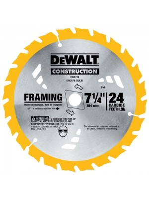 "DEWALT DW3178, SERIES 20 7-1/4"" 24 TOOTH ATB THIN KERT FRAMING SAW BLADE WITH 5/8"" AND DIAMOND KNOCKOUT ARBOR"