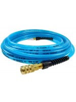 "FLEXEEL HOSE 1/4"" x 100', STRAIN RELIEF FITTINGS, INDUSTRIAL SIX BALL COUPLER & CONNECTOR (TRANSPARENT BLUE)"