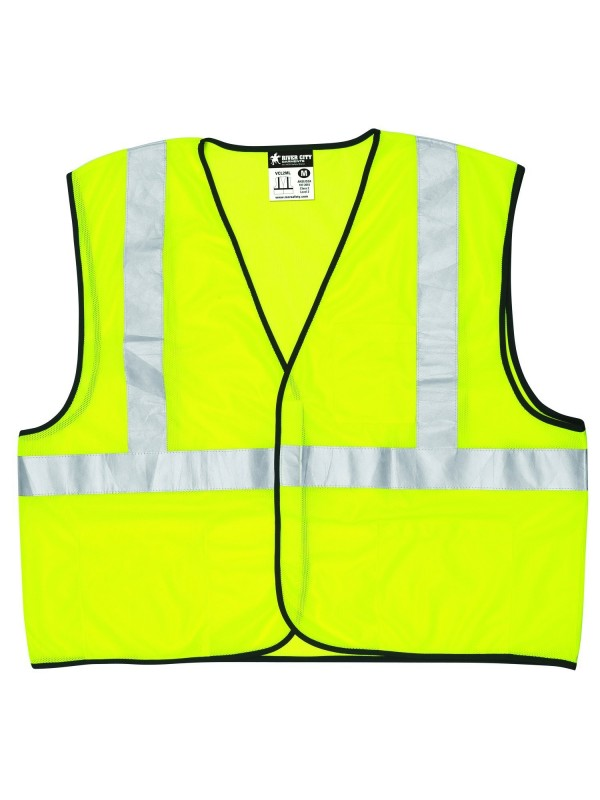 MCR Safety VCL2MLL Class 2 Polyester Mesh Safety Vest with 2-Inch Silver Stripe, Fluorescent Lime, Large