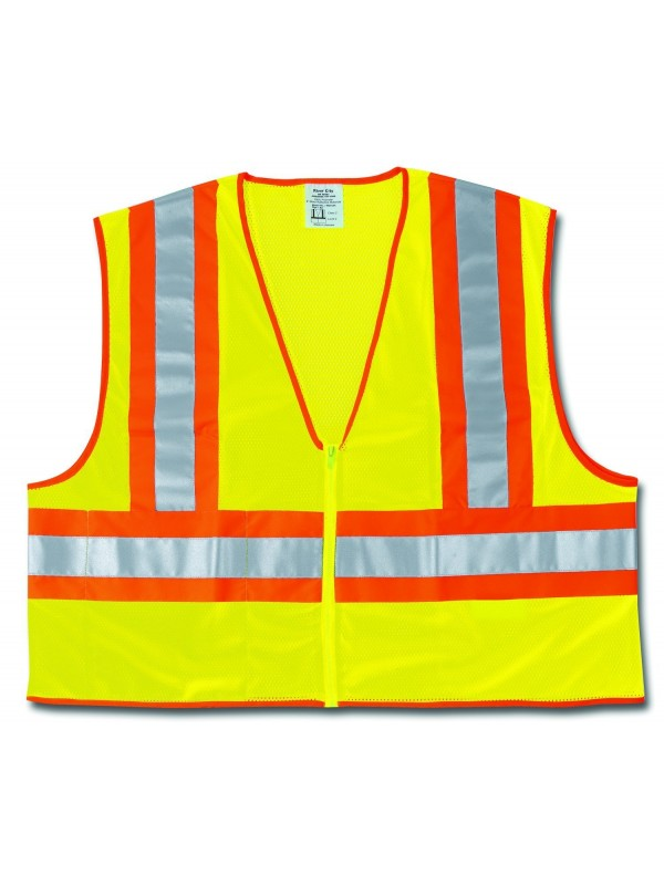 MCR Safety WCCL2LL Class 2 Polyester Mesh Safety Vest with 3M Scotchlite 4-1/2-Inch Orange/Silver Reflective Stripe, Fluorescent Lime, Large